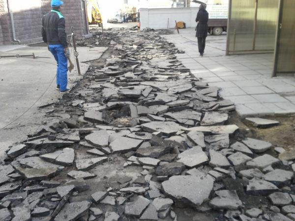 Разборка тротуарного покрытия
