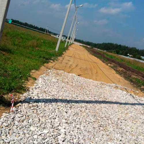Устройство основания дороги из ПГС